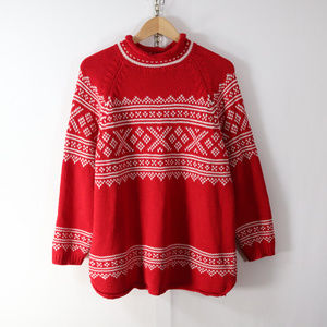 vintage eddie bauer fair isle cotton sweater M